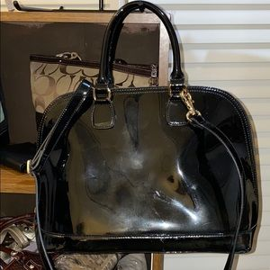 DANIER PATENT LEATHER DOMED SATCHEL